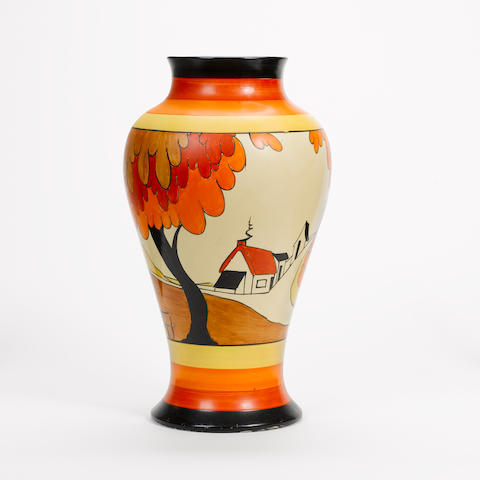 Clarice Cliff 'House and Bridge' a Large Meiping Vase, circa 1930