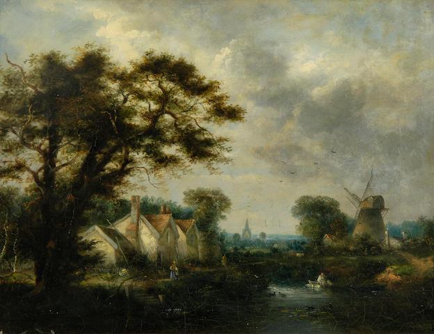 John Crome, wooded river landscale, o-o-c