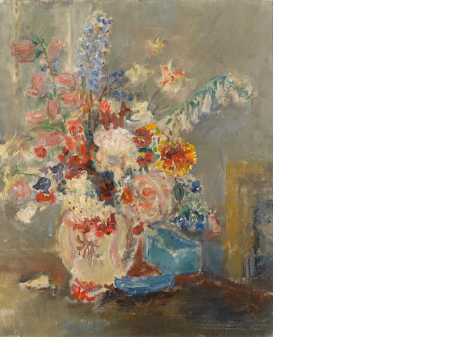 Dame Ethel Walker A.R.A. (British, 1861-1951)Flowers and Blue Box 76.5 x 64 cm. (30 x 25 1/4 in.)