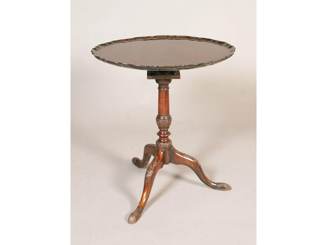 A George III and later mahogany tripod table,