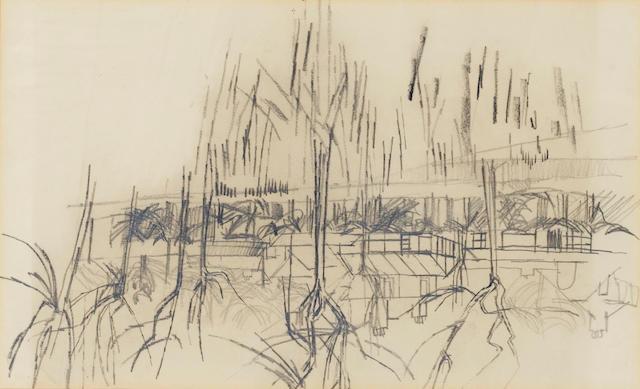David Hockney R.A. (British, b.1937) Houses near Eccleshill, Bradford 20 x 33 cm. (8 x 13 in.)