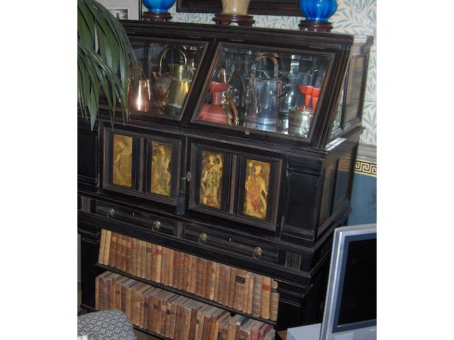 A Victorian Aesthetic period ebonised and polychrome decorated vitrine/side cabinet