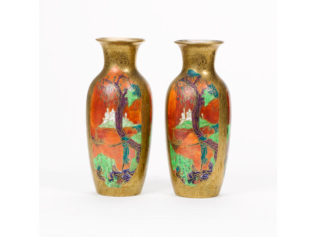 Daisy Makeig-Jones for Wedgwood A Pair of Fairyland Lustre Vases, circa 1920