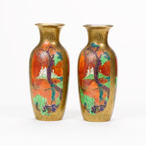 Daisy Makeig-Jones for Wedgwood A Pair of Fairyland Lustre Vases, circa 1920