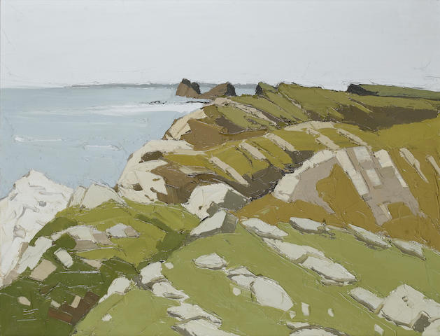 Sir Kyffin Williams  (British, 1918-2006) Worms Head, Rhossili 71 x 91 cm. (28 x 35 3/5 in.)