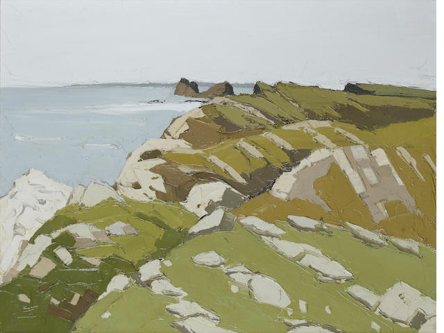 Sir Kyffin Williams  (British, 1918-2006)Worms Head, Rhossili 71 x 91 cm. (28 x 35 3/5 in.)