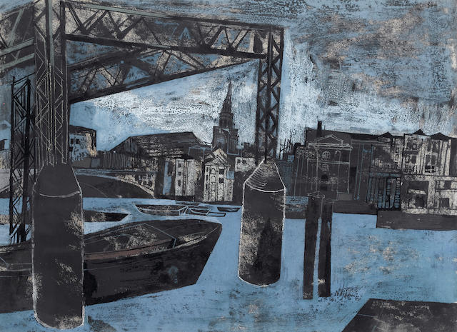 John Minton (British, 1917-1957)River View from Bankside 27 x 37 cm. (10 5/8 x 14 1/2 in.)