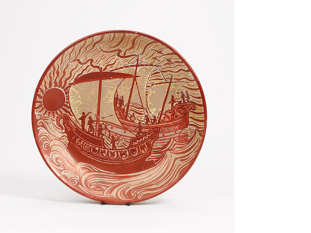 William De Morgan, attributed  A Red Lustre Wall Plaque, circa 1900