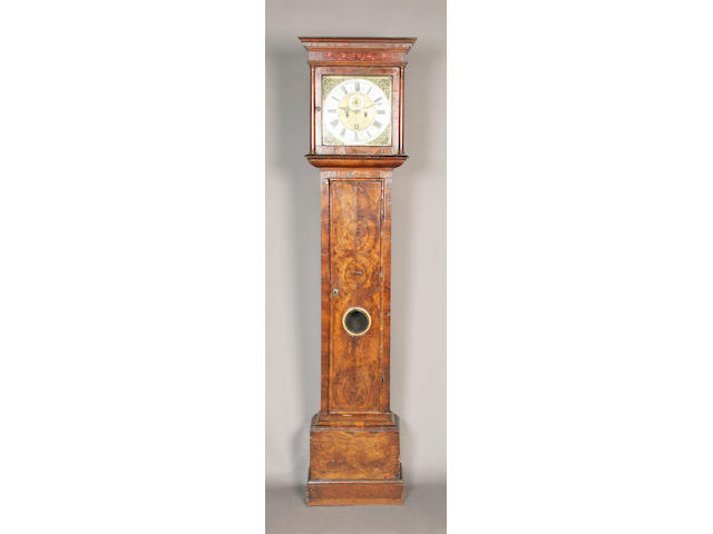 A late 17th/early 18th century figured walnut longcase clock