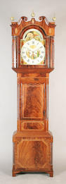 An early 19th century inlaid mahogany longcase clock, the painted arched dial with moonphase and inscribed 'Kellett, Bredbury', eight day striking movement