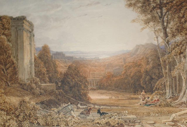 George Barret Jnr. (British, 1767-1842) Figures in a classical landscape
