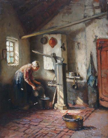 Jacques (Jacob Cornelis) Snoeck (Dutch, 1881-1921) Scullery interior