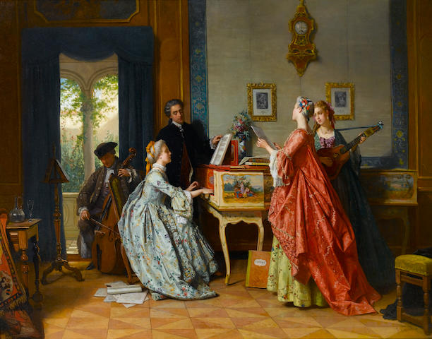 Jean Carolus (Belgian, 1814-1897) The recital 82 x 105 cm. (31 1/4 x 41 1/4 in.)