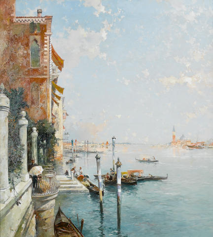Attributed to Franz Richard Unterberger (Austrian, 1838-1902) A Venice scene with San Giogio Maggiore in the distance 111.5 x 101.5 cm. (43 3/4 x 40 in.)