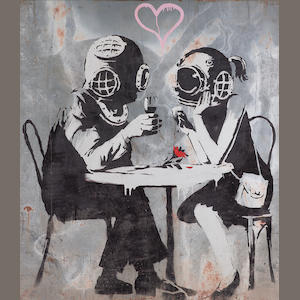 Banksy (British, b.1975)Couple embracing