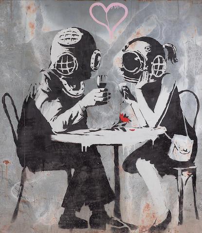 Banksy (British, b.1975)Couple embracing