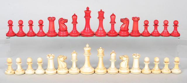 A Victorian ivory Staunton pattern chess set