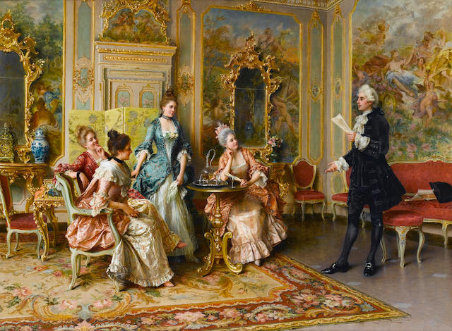 Arturo Ricci (Italian, 1854-1919) The recital 26 1/2 x 36 in. (67.5 x 91.5 cm.)