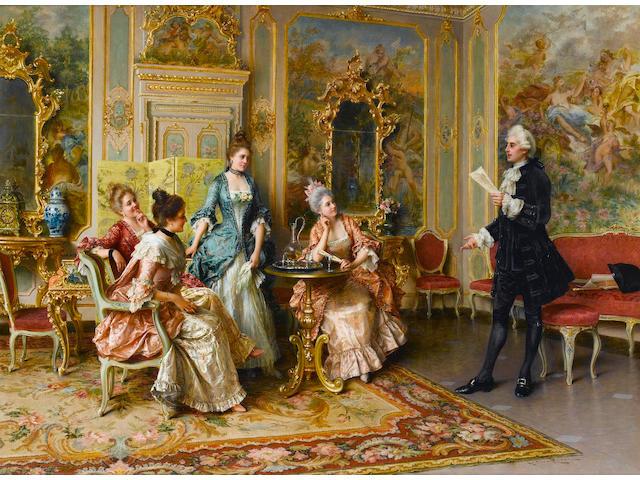 Arturo Ricci (Italian, 1854-1919) The recital 26 1/2 x 36 in. (67.5 x 91.5 cm.)