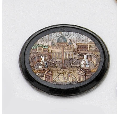 Four 19th Century unmounted micro-mosaic oval panels of sites of Rome,