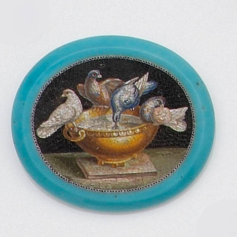 An oval micro-mosaic plaque