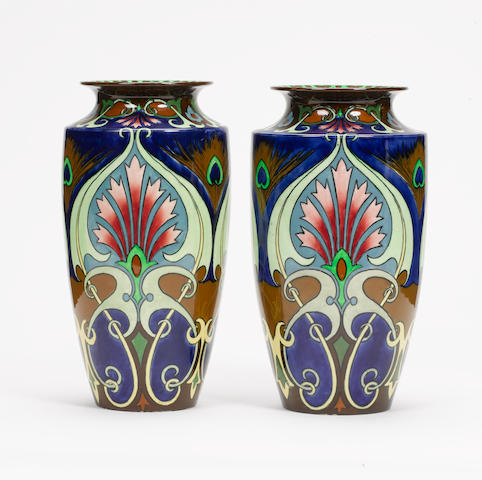 Walter Slater for Foley Pottery A Pair of Intarsio Vases, circa 1911