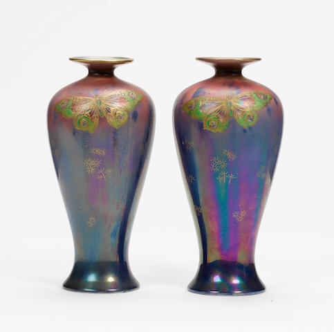 Walter Slater for Shelley A Pair of Lustre Baluster Vases, circa 1919-21