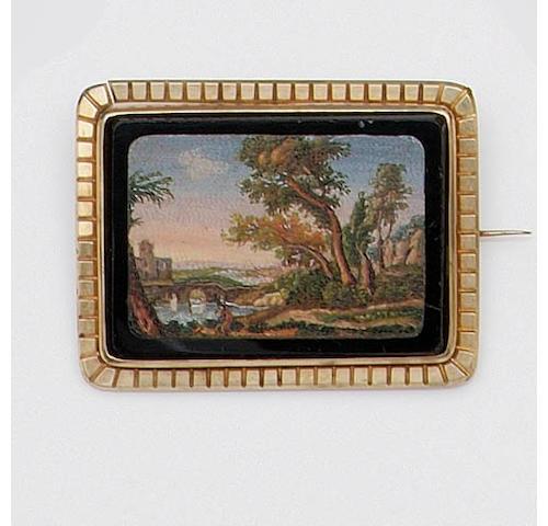 A Victorian micro-mosaic brooch