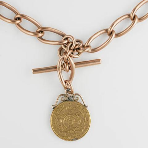 A 9ct rose gold Albert watch chain