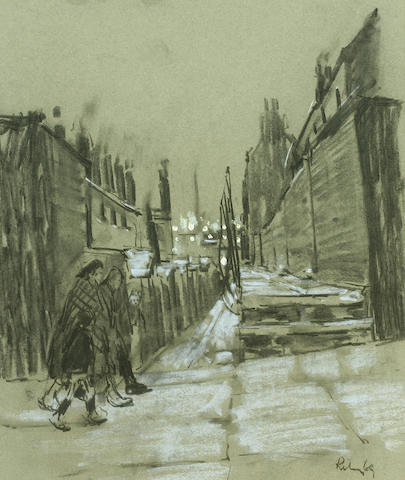 Harold Riley (British, 1934), H Riley - Salford alleyway - charcoal Figures in a Salford alleyway,