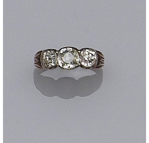 A 19th century three stone diamond ring