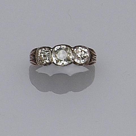 A 19th century three stone diamond ring