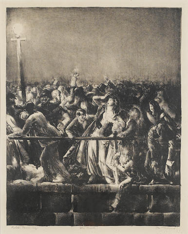 George Wesley Bellows (American, 1882-1925) The Crowd Lithograph, , 1923, on this buff wove, sined and titled by the artist, also signed by the printer Bolton Brown in pencil, from the edition of 48; faint foxing otherwise apparently in good condition, unexamined out of the frame, 375 x 298mm (14 3/4 x 11 3/4in)(I)