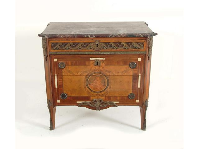 A 19th Century fruitwood, ivory inlaid and marquetry commode possibly Scandinavian