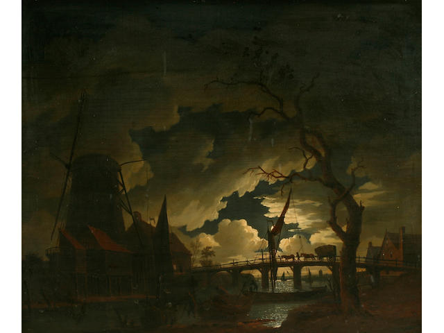 Richard Wright (1720-1775)  Moonlit river landscape, boats and figures by a windmill,