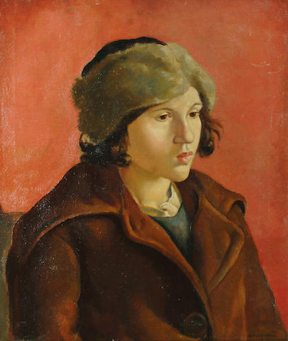 Clara Klinghoffer (British, 1900-1972)Portrait of a girl in a fur hat, with red background