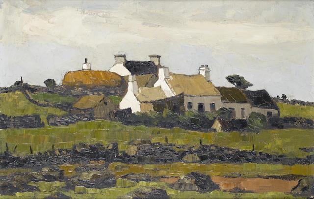 Sir Kyffin Williams  (British, 1918-2006)Rhyd Syr William, cottages on a hillside    51 x 76.2 cm. (