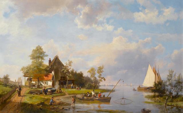 Hermanus Koekkoek, Snr. (Dutch 1815-1882) River scene with fishermen  48 x 75 cm. (19 x 29 1/2 in.)