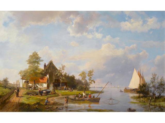 Hermanus Koekkoek, Snr. (Dutch, 1815-1882) River scene with fishermen 48 x 75 cm. (19 x 29 1/2 in.)