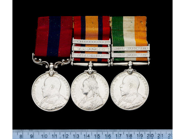 A Boer War D.C.M. group of three to Corporal J.Haines, Manchester Regiment,