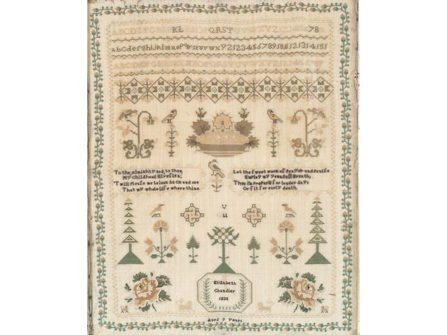 A William IV sampler by Elizabeth Chandler, 1835