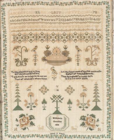 A William IV sampler by Elizabeth Chandler, 1835