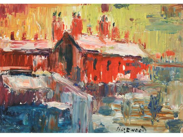 """James Lawrence Isherwood (British, 1917-1988) """"Snow Dwellings, Wigan"""","""