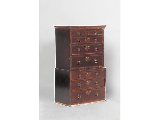 A George III miniature mahogany chest on chest,