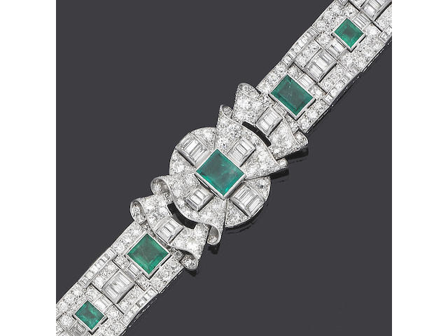 An emerald and diamond bracelet,