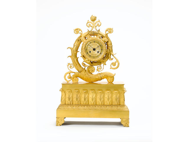 A French late 19th century gilt metal mantel clock - Height 56 cm - Width 36 cm