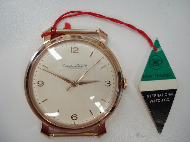 IWC. An 18ct rose gold centre seconds wristwatch1950's