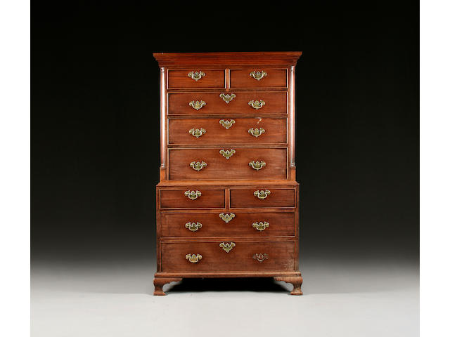 A George III mahogany chest on chest of small proportions