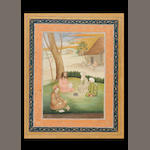 Woman with three dogs; yogi under a tree (2)