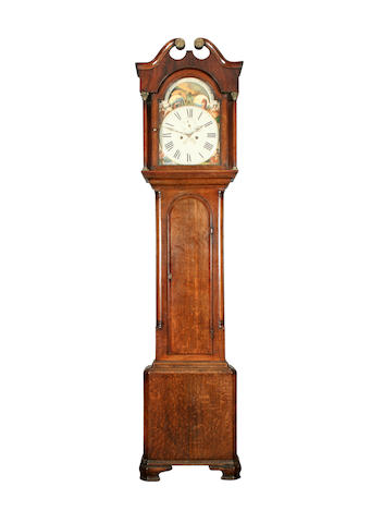 An early 19th Century oak and mahogany-cased 8-day painted dial longcase clock, anonymous sold with two weights and pendulum